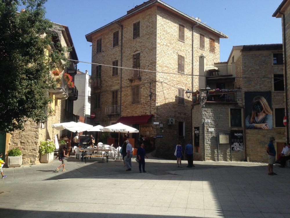 Summer morning soundscape from San Gavino's square in Gavoi